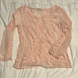 Quarter length sleeve sheer lace top